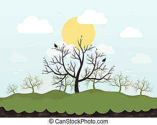 Spring tree and birds Vector illustration