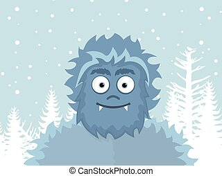 Yeti - Snow man in winter. Vector illustration
