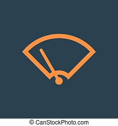 Windshield Wiper Icon. Car wiper. Single flat icon on blue...