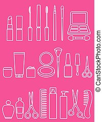 beauty line cosmetics icon set on pink background