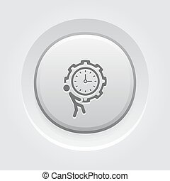 Efficiency Management Icon Business Concept Grey Button...