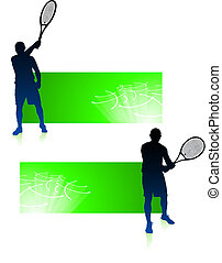 Tennis Player with Green Banners