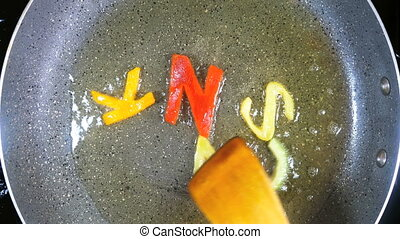 Stir-frying mixed alphabet letters, word Snack