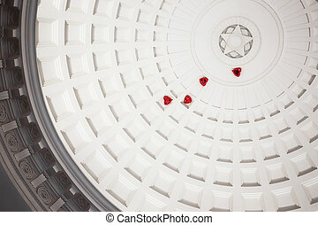 Dome in Moscow metro - Dome with caissons and red balloons...