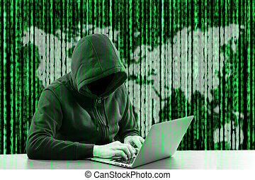 Hackers programmer look and search data for hack information...