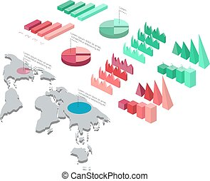 Detailed illustration of a Isometric Infographic Set...