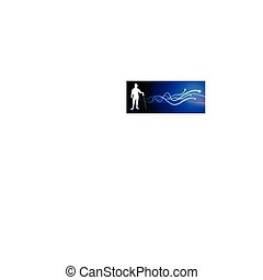 Fencer on Light Spark Abstract Background