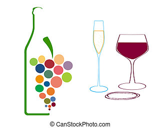 glasses of wine glasses and grapes - Set of wine glasses and...