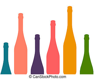 Background with wine bottles - Set of wine bottles isolated...