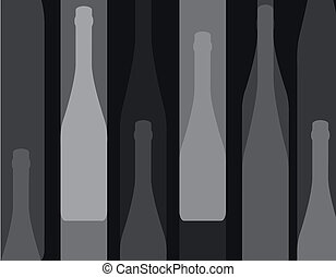 wine bottle silhouette black - Set of wine bottles isolated...