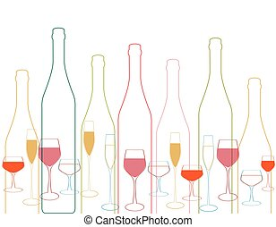 Bottles and glass silhouette - Wine bottle...