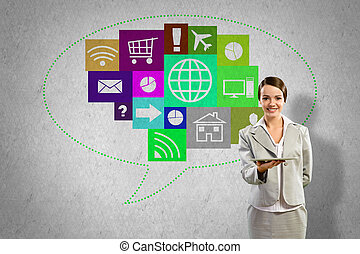 Interface presentation - Businesswoman presenting tablet pc...