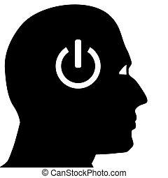 Head brain vector - Silhouette head with push button...