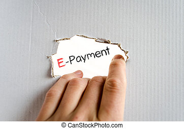 E-payment text concept - E-payment note in business man hand