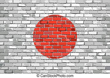 Flag of Japan on a brick wall