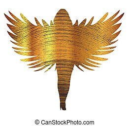 Gold Angel Silhouette - Fine gold thread angel silhouette...