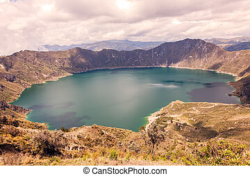 Quilotoa, Volcanic Crater In The Andean Mountains, South...