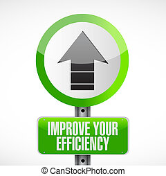 Improve Your Efficiency road sign concept illustration...