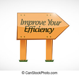Improve Your Efficiency wood sign concept illustration...