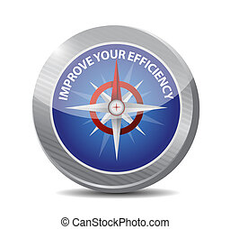 Improve Your Efficiency compass sign concept illustration...