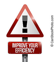 Improve Your Efficiency warning road sign concept...