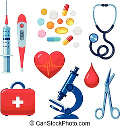 Set of medical icons isolated, color flat