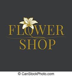 Flower shop logo vector. Florist sign template