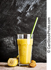Healthy banana and almond smoothie