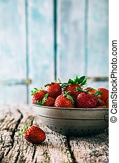 Strawberries - Fresh fruit. Strawberries on wood. Spring...