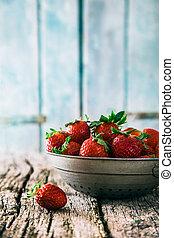 Strawberries - Fresh fruit. Strawberries on wood. Spring...