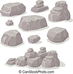 Set of stones, rock elements different shapes cartoon style set, flat design, isometric stones  vector