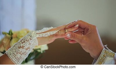 closeup of bride exchanging wedding rings