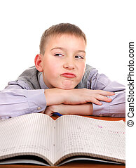 Lazy and Bored Schoolboy Isolated on the White Background