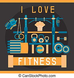 flat design vector illustration with fitness stand