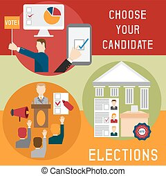 Election voting and debate mini banners set flat design vector illustration