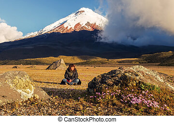 Young Woman Volcanologist In South America - Young...