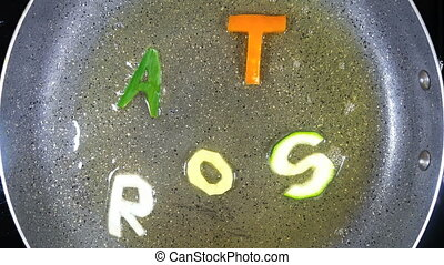 Stir-frying mixed alphabet letters, word Roast