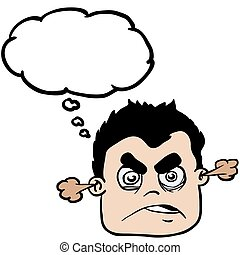 angry boy with thought bubble cartoon