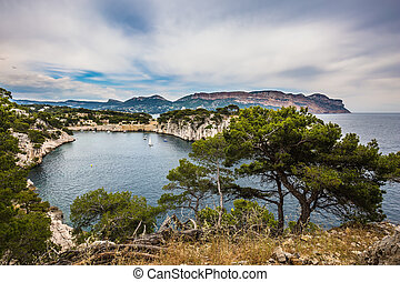 The Calanque with rocky banks - National Park Calanques on...