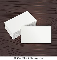 stack of blank business card on wooden background