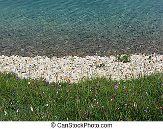 Closeup of a crystal clear alpine lake in Alpe di Siusi,...