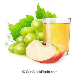 Isolated of grape and apple juice - Glass of grape and apple...