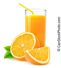 Isolated orange juice Slices of orange fruit and glass of...