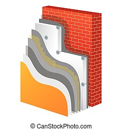 Insulation Polystyrene Thermal Isolation Vector Illustration...