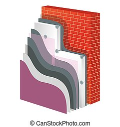 Thermal Insulation Polystyrene Isolation Vector Illustration...
