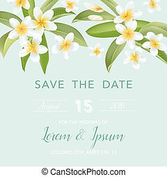 Wedding Invitation Card - with Tropical Flowers Background - Save the Date - in vector