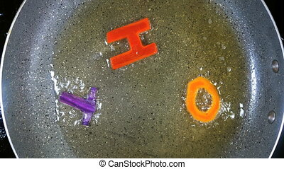 Stir-frying mixed alphabet letters, word Hot