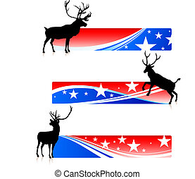 Deer with United States Patriotic Banners