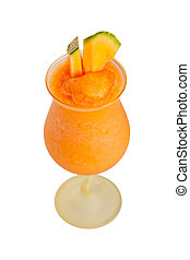 Melon Smoothie Drink - Melon Smoothie Isolated on white....