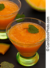 Cantaloupe Melon Smoothie. Selective focus.